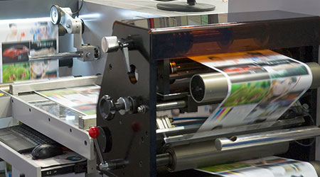 A printing machine with papper in