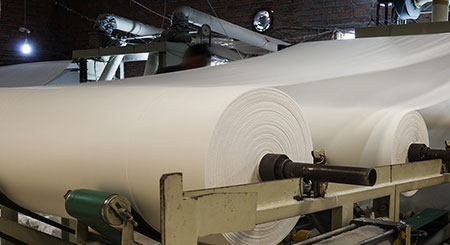 Paper rolls in the pulp and paper industry.