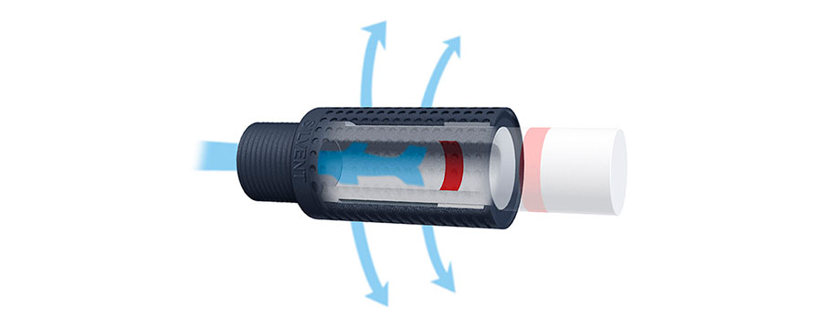 Illustration of airflow in Silvent pneumatic muffler.